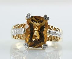Romantic Citrine Diamond Gold Ring