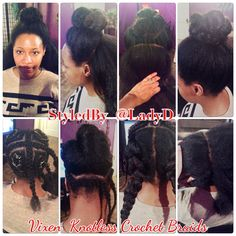 """Knotless #CrochetBraids using the """"Vixen Sew-in"""" method! Some of the client's hair is left out around her perimeter, middle section front to back and from ear to ear. She can wear up, down, and parting is versatile. She has no limits with this style. She can get to her scalp, free to wash and style as often as she wants. Even before I blended her hair in, she could wear it up due to the knotless method used.  LOVE IT!!! #VixenSewIn #MarleyHair"""