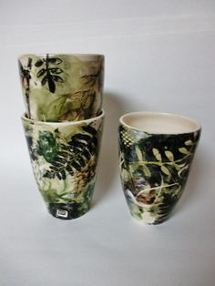 Green Leaf-Litter Tumbler Black and Green Pint by RMVCeramics