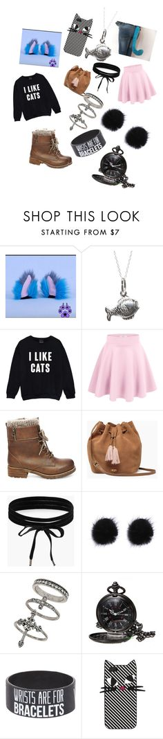 """""""neko chick outfit"""" by mountaindewqueen15 ❤ liked on Polyvore featuring Kale, Steve Madden, UGG, Boohoo, Miss Selfridge and Lulu Guinness"""