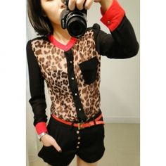 $7.78 Fashinable and Alluring Stand-Up Collar Leopard Pattern Color Block Long Puff Sleeve Shirt For Women
