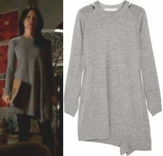 Elementary Season 2, Episode 16: Joan Watson's (Lucy Liu) long-sleeved grey jersey sweater dress by ALEXANDER WANG #elementary #joanwatson #getthelook