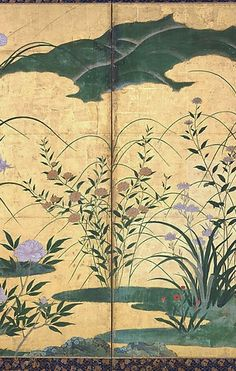 Detail. Flowers and Grasses of the Four Seasons. Circle of Kano Mitsunobu. Momoyama period, late 16th century. Pair of six-panel screens; ink and color on gilded paper. In a twist on the common theme of Birds and Flowers of the Four Seasons, this pair of screens focuses instead on insects and flowers to depict nearly a year's cycle of change from late spring to early winter. Japanese Screen, Japanese School, Japanese Painting, Japan Art, Painted Doors, Grasses, 16th Century, Four Seasons, Chinoiserie
