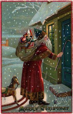 Merry Christmas: Santa Knocking At The Door, Nostalgia cards Poster Print x Father Christmas, Merry Christmas, Christmas Pictures, Christmas Greetings, Christmas Holidays, Christmas Mantles, Christmas Christmas, Christmas Ornaments, Victorian Christmas