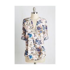 Mid-length 3 Picturing the Pastoral Top ($40) ❤ liked on Polyvore featuring tops, apparel, varies, woven top, flower print tops, floral print top, white top, floral top and deep v neck top