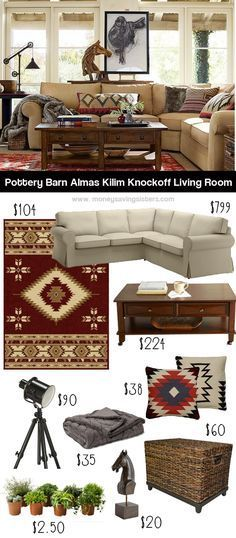 Recreate this southwestern inspired Pottery Barn living room on a budget with items from Target, Hayneedle & Ikea!