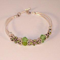 Peridot Swarovski Crystal and Antique Silver Pewter Bracelet   Kippys_Kreations - Jewelry on ArtFire