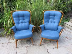 Ercol chairs reupholstered by Twisted Loom in Marine Slubby Linen. #Ercol #TwistedLoom