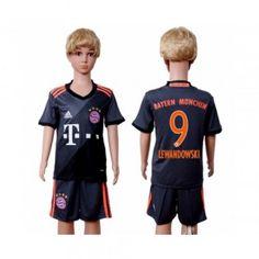 Kinder Fussball Trikot Bayern Munich 2016-17 Lewandowski 9 Auswärts Trikotsatz Kurzarm