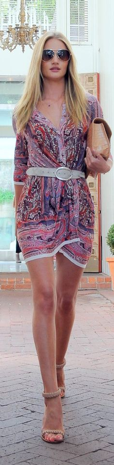 Boho chic!  Bandana print wrap dress, shades,  clutch & belt.  Rosie Huntington Whiteley