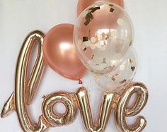 Rose Gold Balloons Love Balloon Rose Gold Balloon Bridal Shower Wedding Decor Rose Gold Wedding Rose Gold Bridal Shower Confetti Balloons