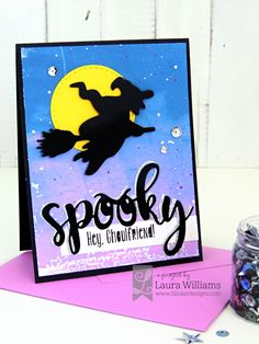 Spooky Ghoulfriend Halloween Card by lauralooloo - Cards and Paper Crafts at Splitcoaststampers Creepy Halloween, Halloween Night, Fall Halloween, Halloween Greetings, Halloween Cards, Spooky Words, Cute Bat, Halloween Silhouettes, Halloween Birthday
