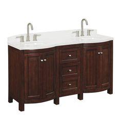 allen + roth Moravia 60-in x 20-in Sable Undermount Double Sink Bathroom Vanity w/ Cultured Marble Top