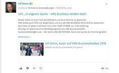 Auch auf XING mit Werbeplakat #HRS #BusinessHelden 2016 Ulf Gimm beworben