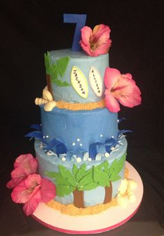 Beach themed birthday cake inspired by Pink Cake Box