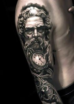 One of the best sleeve tattoo ideas for men in gothic and black and gray styles. Style: Gothic. Color: Gray. Tags: Best, Amazing
