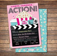 movie invitation movie party invitation printable girls movie party invite movie birthday invitations