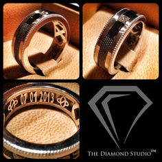 Ladies, just like yourselves, your men want the ring they wear for the rest of their lives to be distinctive. This men's wedding band is done in white and black gold, with white and black diamonds around the outside. Within the band you'll see my custom Diamond Studio plate with their wedding date and the couple's initials stylized into a unique symbol. Bold, masculine, and stylish. This is what I do. #weddings #jewelry #weddingband #diamonds #thediamondstudio