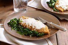 Crispy Mozzarella Chicken with Garlic Spinach recipe