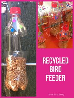 Last week we talked about pollution, so to extend the subject we talked about reduce, reuse and recycle. Our crafts were all made from recycled material: These bird feeders were made from plastic soda bottles. We used 500 ml or 1 liter bottles which I cut it for the kids. They pushed through old pencils …