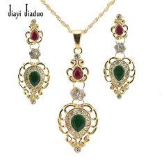 Frete Grátis, moda Conjunto de Colar de Pingente Banhado A Ouro Verde Rhinestone Beads Mulheres Traje Conjuntos de Jóias Pingente