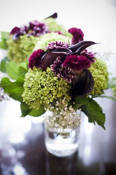 purple and green floral arrangement