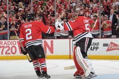 CHICAGO, IL - JUNE 15: Duncan Keith #2 of the Chicago Blackhawks celebrates with goalie Corey Crawford #50 after Keith scored against the Tampa Bay Lightning in the second period during Game Six of the 2015 NHL Stanley Cup Final at the United Center on June 15, 2015 in Chicago, Illinois. (Photo by Bill Smith/NHLI via Getty Images)