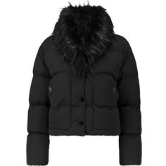 Love Moschino Faux fur-trimmed quilted shell coat (1.820 NOK) ❤ liked on Polyvore featuring outerwear, coats, black, faux fur trim coats, love moschino coat, quilted coat, shell coat and love moschino