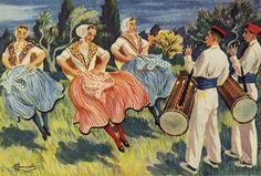 Danse provençale et tambourinaïres, par Charles Homualk (1900-1996)