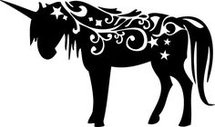 *VECTOR* Nice to use for a heat transfer on a girly t-shirt Unicorn -SVG is trademarked, but one could use as inspiration - unicorn silhouette and some swirls, curlicues and stars Silhouette Cameo Projects, Silhouette Design, Machine Silhouette Portrait, Unicorn Wall Decal, Unicorn Stencil, Kirigami, Pyrography, Cricut, Clip Art