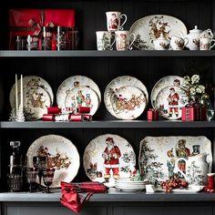 'Twas The Night Before Christmas Dinner Plates, Santa, Set of 4 Christmas Salad Plates, Christmas China, Christmas Dishes, Christmas Kitchen, Christmas Home, Christmas Holidays, Christmas Crafts, Christmas Dinnerware Sets, Diy Christmas Balls
