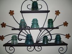 1960's Wrought Iron Shelf, Wall Hanging Shelf, Floral Mid-Century, Wall Art, Home Decor, Shabby Chic on Etsy, $95.00