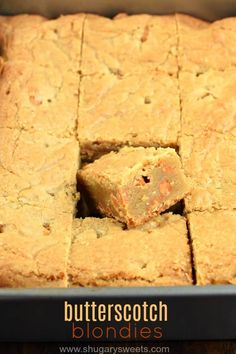 Chewy and delicious, these brown sugar Butterscotch Blondies are the perfect dessert! Thick and rich, these sweet bars are easy to make!