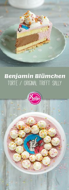 """Many of my viewers are already eagerly awaiting the """"imitation"""" version of my Benjamin Blümchen cake and here it is. Below is a fine shortcrust pastry, two juicy sponge cakes in between and Pastry Logo, Pastry Dough Recipe, German Cake, Shortcrust Pastry, Dutch Recipes, Cake Board, Strawberries And Cream, Yummy Cakes, Baby Food Recipes"""