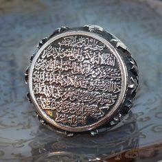 925 Sterling Silver Islamic Ring for men with Ayat al-Kursi #KaraJewels #Islamic