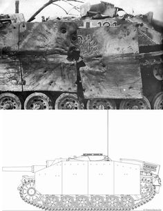 Catastrophic penetration suffered by a Sturmgeschütz III (StuG III) assault gun. The anti-tank round has penetrated the outer armor sheets and has exploded the gun compartment. Crew almost certainly perished.