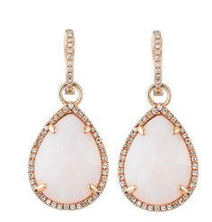 Majolie diamond and pink opal large drop earrings are a covetable piece for your wedding.