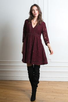 MAGDA LACE BORDEAUX. Robes, jupes  tendance