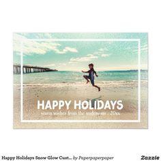 Happy Holidays Snow Glow Custom Photo 5x7 Paper Invitation Card