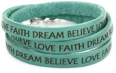 """Dillon Rogers It's a Wrap """"Love, Faith, Dream, Believe"""" Teal Leather Bracelet Dillon Rogers. $56.00. Can be wrapped around wrist three times. Soft and flexible, imported leather. Hand crafted in Hollywood, California. Made in United States"""