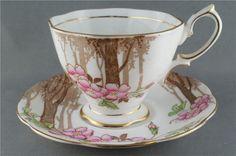 Vintage Royal Albert Woodland Scene Trees Cup & Saucer Crown circa 1935 #RoyalAlbert #RoyalAlbert