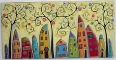 Folk art Abstract houses tree with flowers and by Karla Gerard