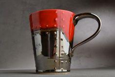 Sheet Metal Mug Made To Order Red and Chrome Sheet Metal Stoneware Mug by Symmetrical Pottery