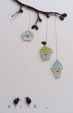 Pebble birds and Sea Glass bird houses on a branch #decoration