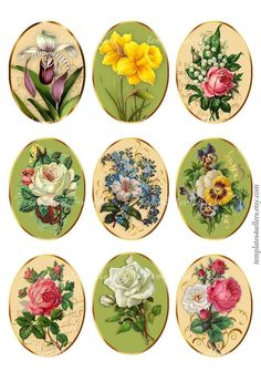 Digital Collage Sheet Vintage Flowers Oval images Jewelry Original Printable inch sheet Digital Collage Sheet Vintage Blumen Oval Bilder Schmuck Original druckbare 4 x 6 Zoll Blatt Decoupage Vintage, Decoupage Paper, Vintage Paper, Free Printable Art, Halloween Poster, Paper Birds, Collage Sheet, Vintage Labels, Digital Collage