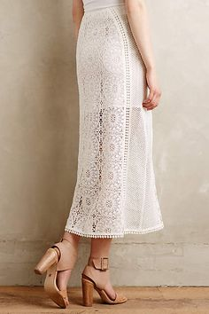 Veiled Lace Midi Skirt - anthropologie.com #anthrofave