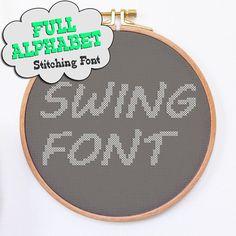 Modern cross stitch alphabet pattern SWING cross stitch