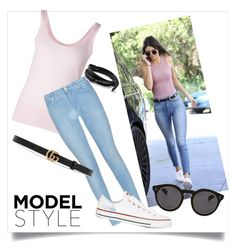 """""""Model Style - Kendall Jenner"""" by polyvoregirl01 ❤ liked on Polyvore featuring 7 For All Mankind, Michael Kors, Gucci, Converse, Illesteva, women's clothing, women's fashion, women, female and woman"""