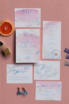 Semi-custom watercolor wedding invitation suite Watercolor Wedding Invitations, Wedding Invitation Suite, Flower Outline, Blue Flowers, Rsvp, Wedding Announcements