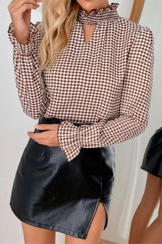2021 Spring Summer Elastic Clothes Houndstooth T-shirt Sexy Hollow Out Women Tops Sexy Shirts, Houndstooth, Blouse Designs, Sleeve Styles, Shirt Blouses, Blouses For Women, Spring Summer, Casual, Clothes